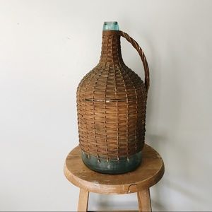 Antique Wine Wicker + Glass Handled Demijohn